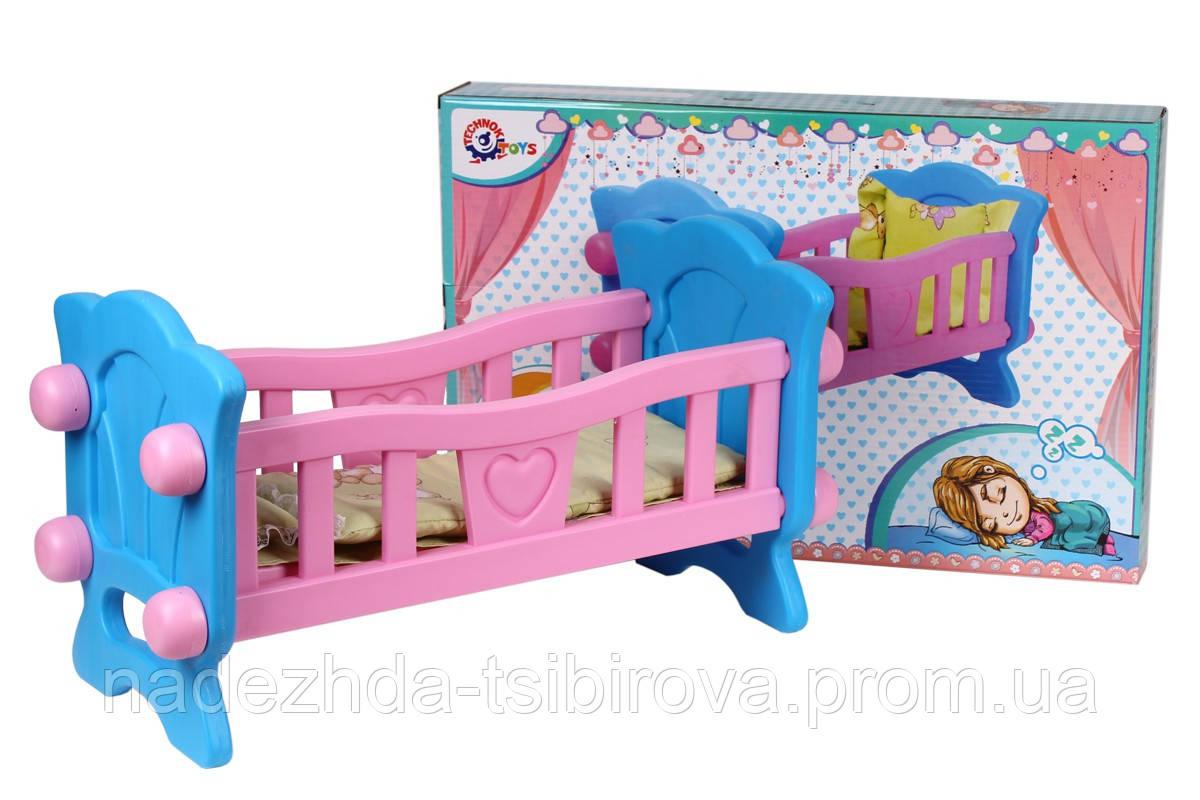 """Кроватка - колыбель для куклы """"ТехноК"""" 57*27*31 см. с постелькой."""