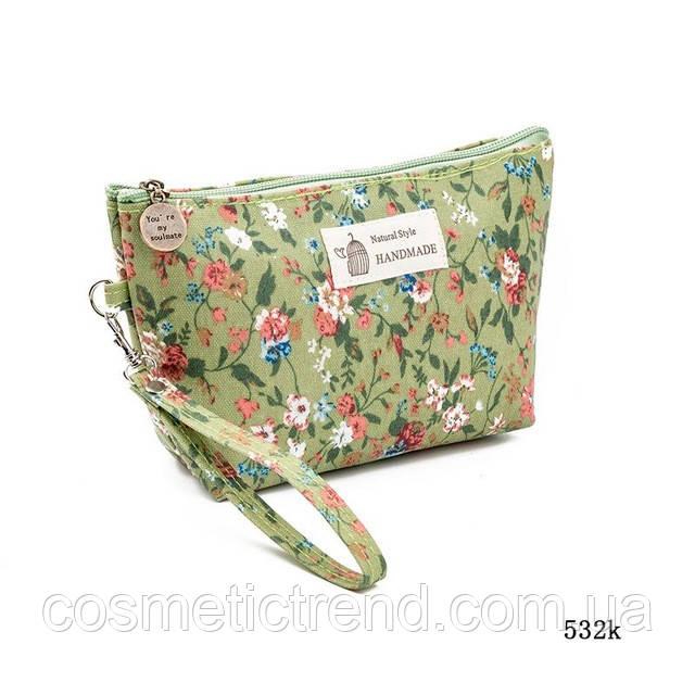 Косметичка женская для сумки NATURAL STYLE Hand Made с цветочным принтом 532k 21*13*6,5 см
