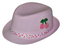 Шляпа детская челентанка нашивка вишня розовая