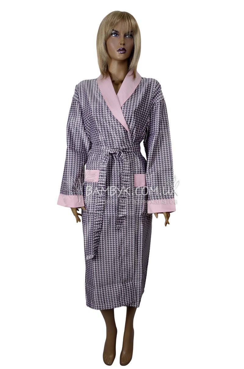 Шелковый халат с шалевым воротом  Nusa (атлас) №92101