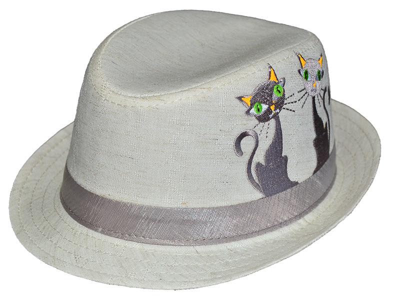Шляпа детская челентанка вышивка кошки канва