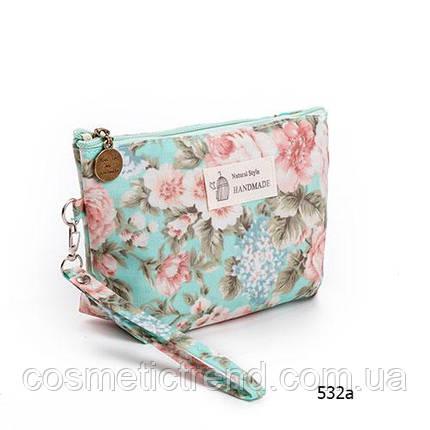 Косметичка женская для сумки NATURAL STYLE Hand Made с цветочным принтом 532а 21*13*6,5 см, фото 2