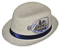 Шляпа детская челентанка вышивка кораблик канва