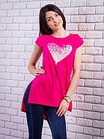 Женская футболка-туника с принтом Сердце цвет малиновый p.42-50 VM1922-3