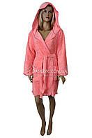 Короткий пушистый халат с капюшоном (женский) Nusa №3090
