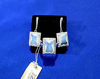 Серьги и кольцо с голубым цирконом