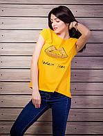 Женская футболка со стразами Губы удлиненная спинка цвет оранжевый p.42-50 VM1930-1