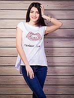 Женская футболка со стразами Губы удлиненная спинка цвет белый p.42-50 VM1930-4