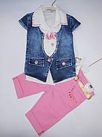 Летний джинсовый костюм  для девочек от 1 до 4 лет