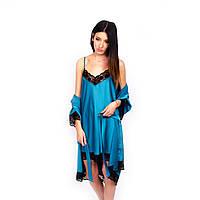Женская ночная сорочка из шелка цвета морской волны
