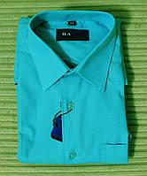 Рубашка бирюза приталенная для мальчика.