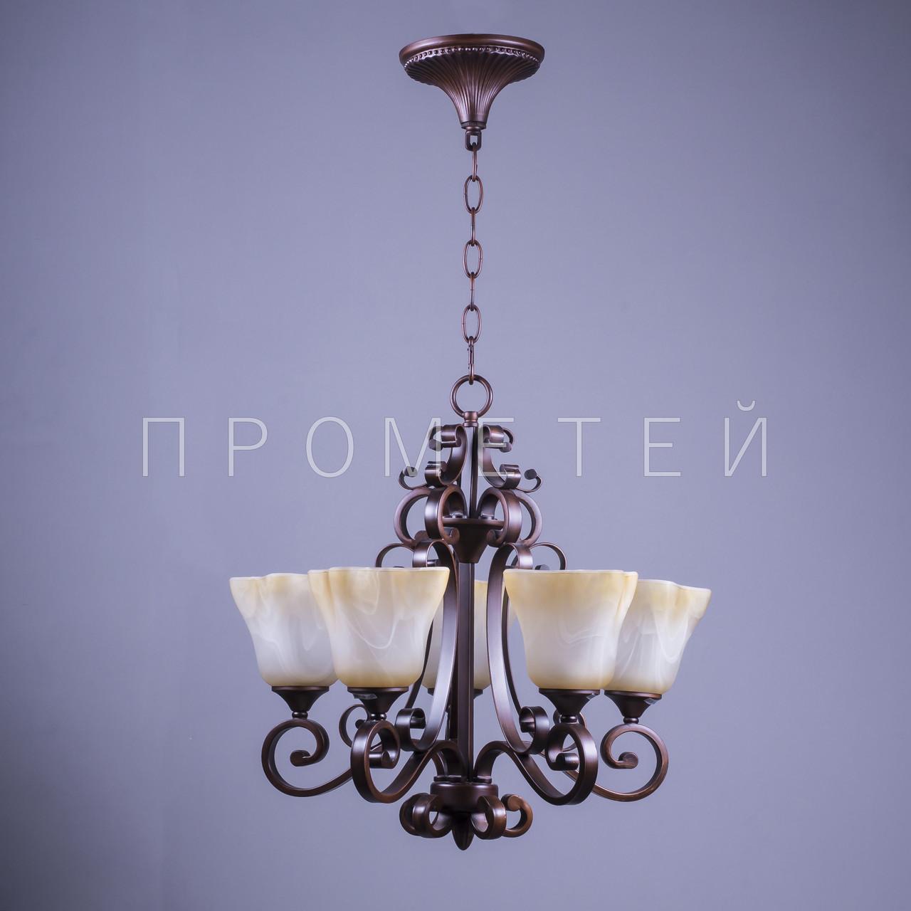 Классическая люстра на цепи на 5 лампочек P3-3642/5/PG+YL