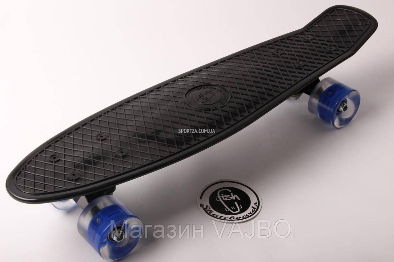 Penny board Черная доска на синих свет колесах -   Магазин VAJBO на 7км -Купить оптом и в розницу Penny Board, Пенни Борд, Скейтборды, Ролики в Одессе