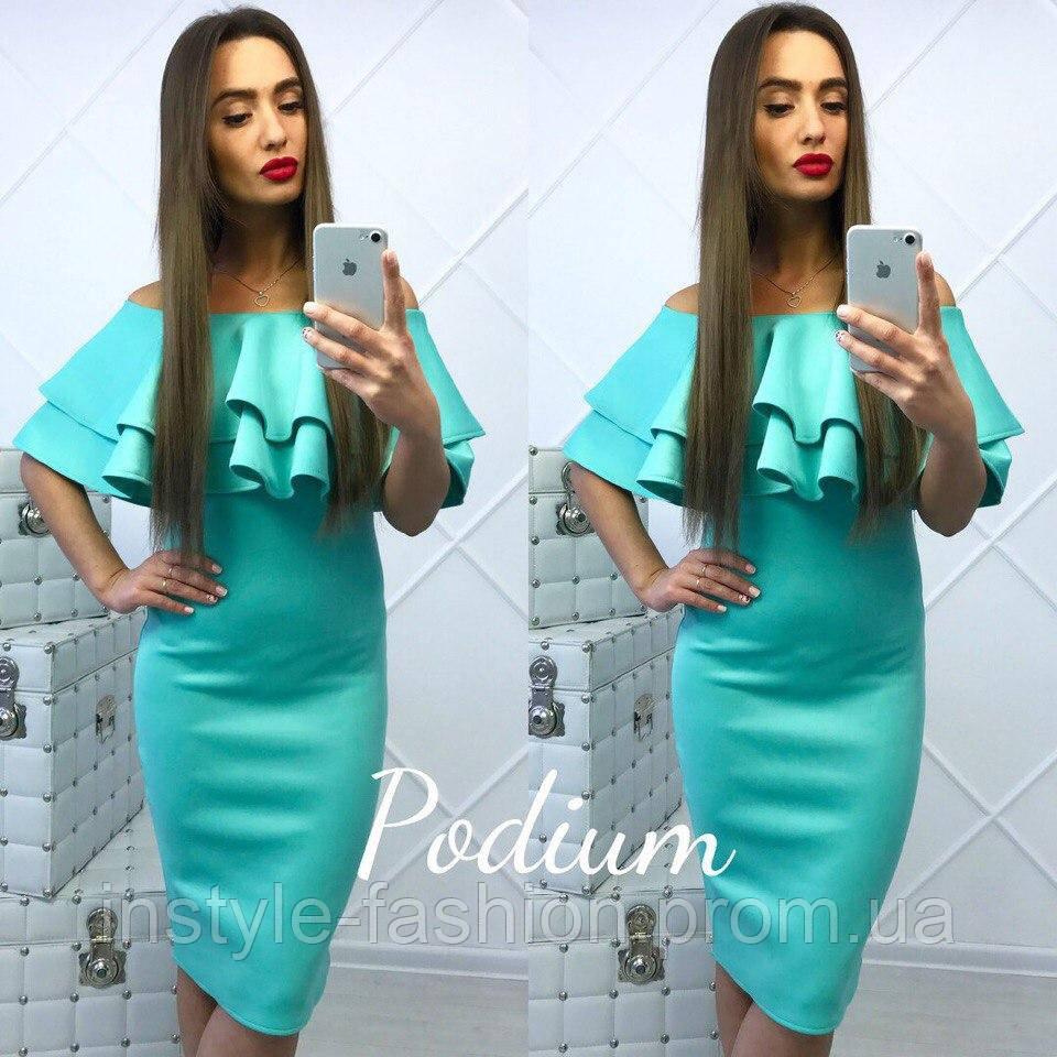 Платье женское с воланом ткань дайвинг цвет мята