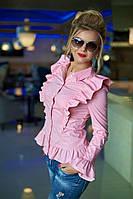 Шикарная блуза прилегающего силуэта с воланами и принтом