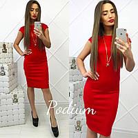Платье женское миди ткань дайвинг красное