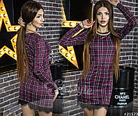 Трикотажное женское платье с черным кружевом