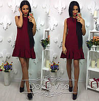 Платье женское Деним ткань костюмка бордовое