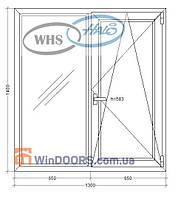 "Окно металлопластиковое, WHS HALO, 5-этажка ""Хрущевка"" 1300х1400 мм"