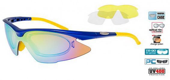 Окуляри спортивні сонцезахисні Goggle Revo E680-4R UV400 змінні лінзи діоптрична вставка оправа TR-90
