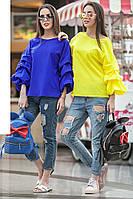 Стильная женская блузка с оригинальными рукавами, фото 1