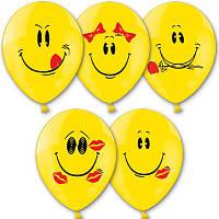 """Гелиевые шары латексные круглые с рисунком 1103-0139 шар с рисунком 14"""" улыбка -036"""