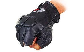 Перчатки спортивные многоцелевые  (кожа, откр.пальцы, р-р L, XL, черный)Z