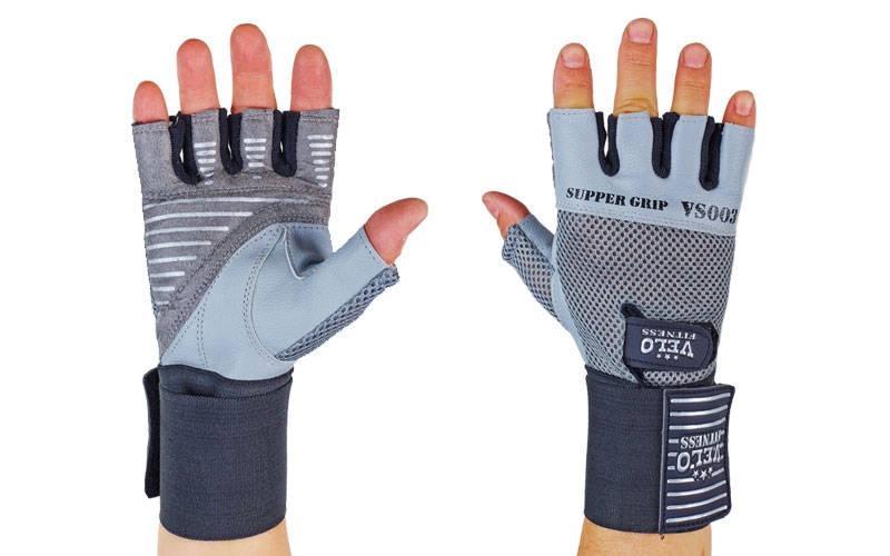 Перчатки атлетические с фиксатором запястья VELO  (кожа, р-р S-XL, серый-черный)Z