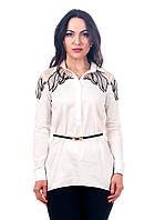 Женская белая рубашка с сеткой на плечах