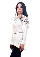 Женская белая рубашка с сеткой на плечиках