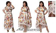 Летнее коттоновое платье украшено кружевом большого размера ( р. 50-54 )