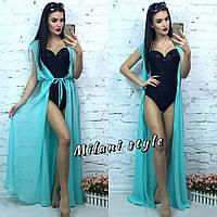 Женская шифоновая пляжная накидка без рукава цвет ментол
