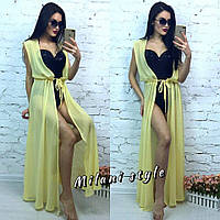 Женская шифоновая пляжная накидка без рукава цвет желтый