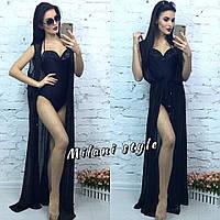 Женская шифоновая пляжная накидка без рукава цвет черный