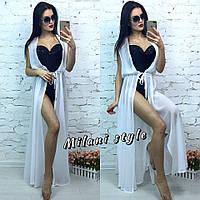 Женская шифоновая пляжная накидка без рукава цвет белый