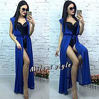 Женская шифоновая пляжная накидка без рукава цвет синий