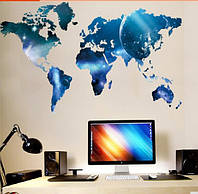 """Наклейка на стену, украшения стены наклейки в офис, в детскую, в школу """"карта мира"""" 99*55см(лист 60*90см)"""