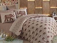 Качественное Двуспальное постельное бельё Eponj Home FIL KAHVE SV10