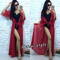 Женская шифоновая пляжная накидка с рукавом 1/2 цвет красный