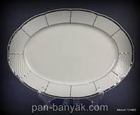 Блюдо овальное с бортом Thun Menuet (Обводка платина) длина 36 см фарфор (7224800)