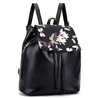 Рюкзак женский с цветочным принтом. Черный