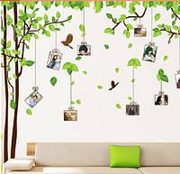 """Наклейка на стену, виниловые наклейки """"дерево с фоторамками 1м80см*3м"""" (2 листа 60*90см)"""