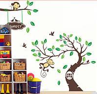 "Наклейка на стену, наклейки в детскую ""веселі мавпенята"" 3метра*145см -  2листа*(60*90см)"