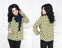 """Легкая женская блуза """"Monica"""" с длинным рукавом и бантом (большие размеры)"""