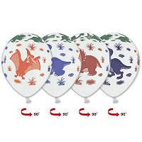 """Гелиевые шары латексные круглые с рисунком 1103-1054 шелкография пастель 14"""" динозаврики мнгц, фото 1"""