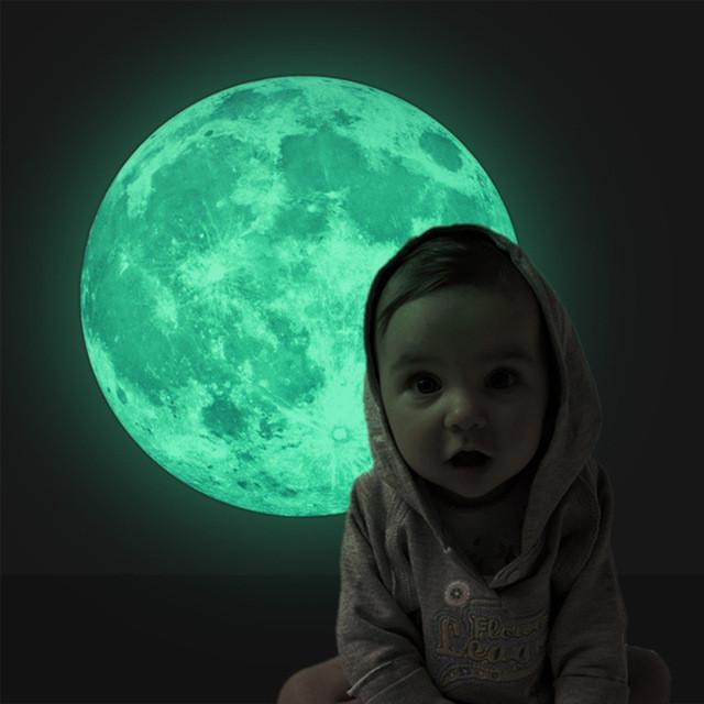 Светящийся стикер Луны на стену! Светящаяся наклейка Луны! Диаметр 30 см.!