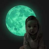 Светящийся стикер Луны на стену! Светящаяся наклейка Луны! Диаметр 30 см.!, фото 1