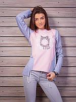 Стильная женская кофта с принтом Сова p.42-50 цвет пудра VM1739-2