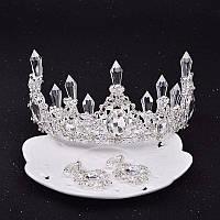 Набор свадебный корона диадема и серьги Снежная королева