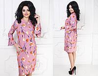 """Элегантное миди-платье """"Тюльпан"""" с цветочным принтом и воланами на рукавах (большие размеры)"""